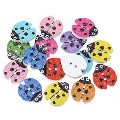 100PCs Mixed Wood Sewing Buttons Ladybird Pattern Scrapbooking 18x16mm