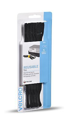 VELCRO® Brand 5 Pack Pre Formed Reusable Ties 25mm x 200mm Black