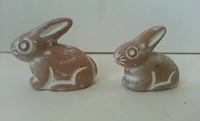 Two Mexican Miniature Redware Clay Terra Cotta Pottery Bunnies Rabbits Vintage