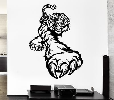 Wall Decal Animal Tiger Paw Claws Roar Beast Attack Vinyl Stickers (ed282)