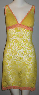 New LA VIE EN ROSE Size S Yellow Lace Babydoll Nightie With Removable Pad Insert