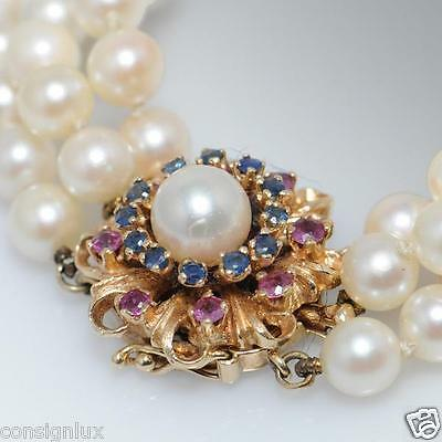 Saltwater Cultured Pearl Bracelet w/ Sapphire & Rubies on 14k yellow gold clasp