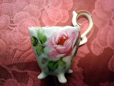 China Tea Cup Hand Painted Green w/Pink Roses Hand Painted Made in Japan
