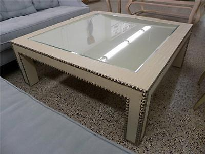Faux Alligator & Nailhead Trim Huge Low Table In The Style Of Karl Springer