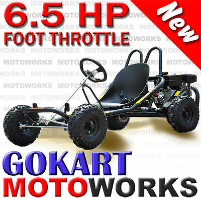 6.5 Hp Horse Power Go Kart Buggy Quad Dirt Bike Atv 4 Wheeler Black