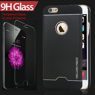 Apple iPhone 6 Plus Case, [TEMPERED GLASS GUARD]Ultra-thin Aluminum Hybrid Cover