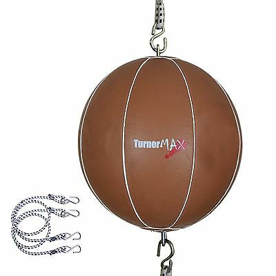 TurnerMAX Cowhide Leather Double End Boxing Speedball MMA Boxing Ball Natural