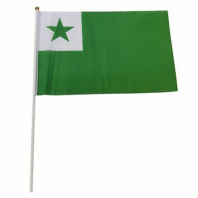 Esperanto 8x12 Flag w/ Gold Base Hand Waving Desk Flags #1