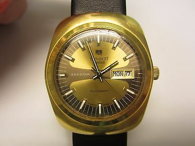 Vintage Tissot SeaStar  Mens Watch Two Tone Gold Plated