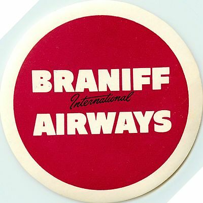 BRANIFF International AIRWAYS - Classic Old Airline Luggage Label, 1955
