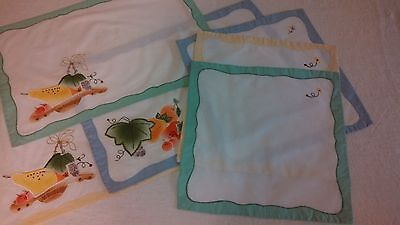 Vintage Embroidered-Appliqued Placemats and Napkins-Set of 3 - Excellent