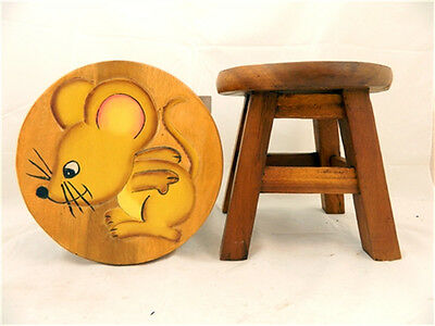 Childs Childrens Wooden Stool - Mouse Step Stool