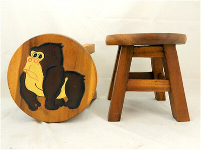 Childs Childrens Wooden Stool - Gorilla Step Stool