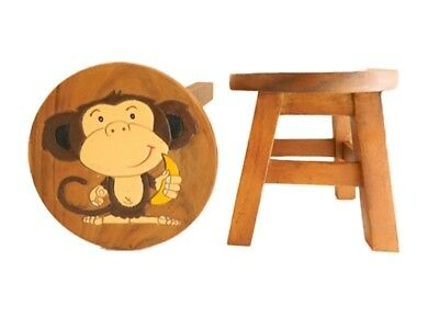 Childs Childrens Wooden Stool - Monkey