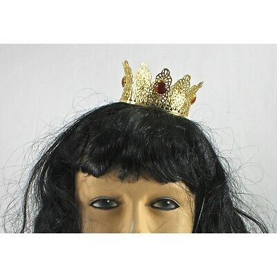 Mini Gold Metal Crown Prince Princess With Red Or Pearls Jewels Or Cake Topper