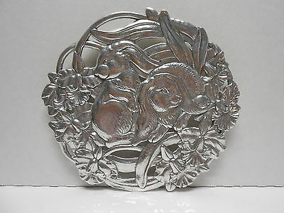 Arthur Court Bunny Rabbit & Daffodil  Flower Trivet Wall Decor 1995