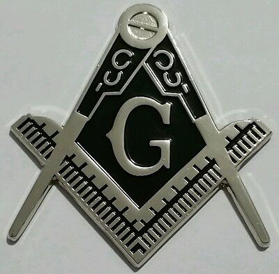 Masonic cut-out car emblem in silver with solid  Black