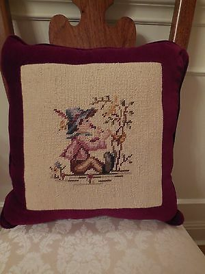 Beautiful Antique Needlepoint Pillow in Wine-Colored Cotton Velvet