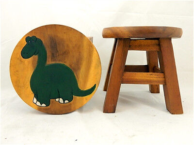 Childs Childrens Wooden Stool - Dinosaur Step Stool