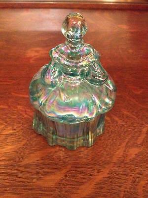 Moser glass Victorian Lady Blue opalescent trinket dish