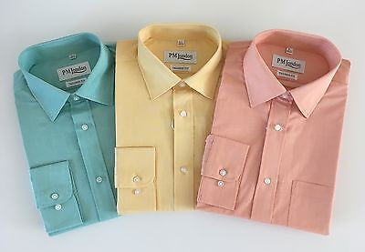 4661ad48 Mens Shirt 100% Cotton Formal Shirt Work Shirts Tailored Fit One Pocket  15.5-18