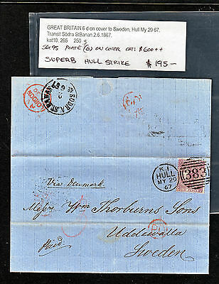 GB 1867 QV 6d ON COVER TO SWEDEN.  SG95 PLATE 6