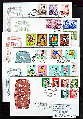 FDCs 1966 FIRST DECIMAL SET INC COILS ON 6 APO OFFICIAL FDC. CANCELLED AT COCOS!