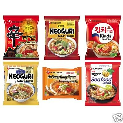 60 x 120g Nong Shim Instant Nudelsuppe, 6 Sorten Nongshim Nudel suppe FREIE WAHL
