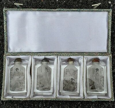 Vintage Set Of Reverse Painted Crystal Glass Chinese Snuff Bottles. Signed