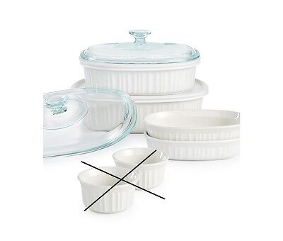 Corningware French White 8 Piece Stoneware Bakeware Set 1117404