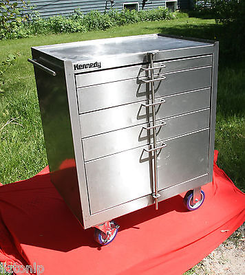 Kennedy 304 Stainless Steel 5 Drawer Rolling Cabinet Ball Bearing Slide 28085