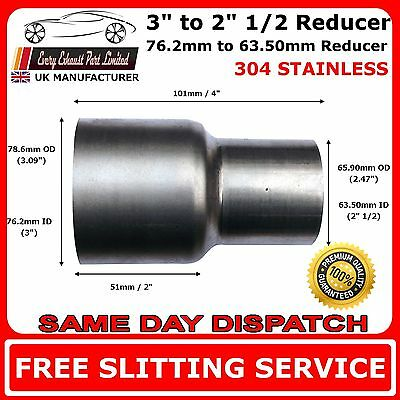76mm to 63mm Stainless Flared Standard Exhaust Reducer Connector Pipe Tube