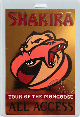 SHAKIRA 2002-03 TOUR of the MONGOOSE Laminated Backstage Pass THE VOICE