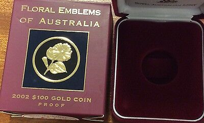 empty 2002 floral emblems of Australia  empty box and certificate