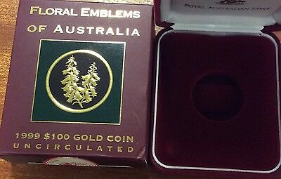 empty 1999 floral emblems of Australia  empty box and certificate