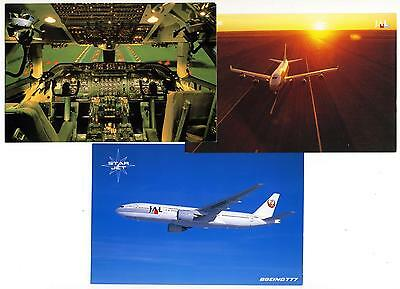 JAPAN AIRLINES ~Boeing 747 / Star Jet / Cockpit~ Great Lot of THREE Postcards