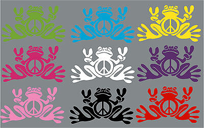 TWO Peace Frog Decal Stickers - New, Any Color