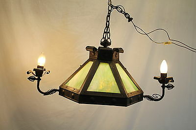 Antique Arts & Craft Fixture Chandelier with Green Slag Glass Shades, c. 1930's