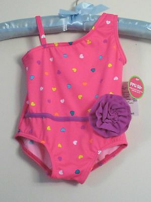 New THE CHILDREN'S PLACE Size 6-9M  Pink Shock One-Piece UPF 50+ Swimsuit