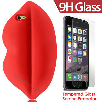 2 in 1 Apple iPhone 6 TEMPERED GLASS Screen Protector+3D Kiss Lips Silicon Case