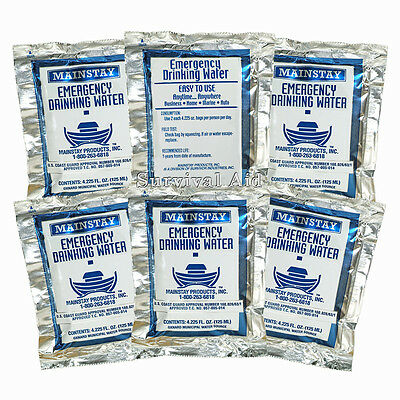 Emergency Water Pouches -3 Day Survival Rations 5 Year Shelf Life USCG Approved