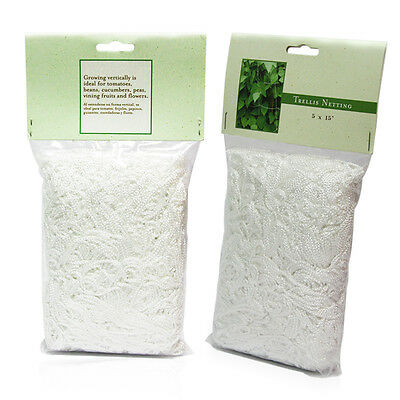 2 Packs 5ft x 15ft Plant Support Garden Pea Trellis Netting Grow Mesh Net White