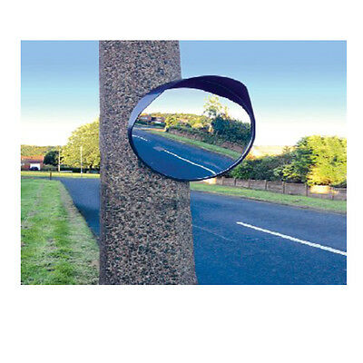 """16"""" Inch 40CM Traffic Shop Wide Angle Security Curved Convex Road Mirror Black"""
