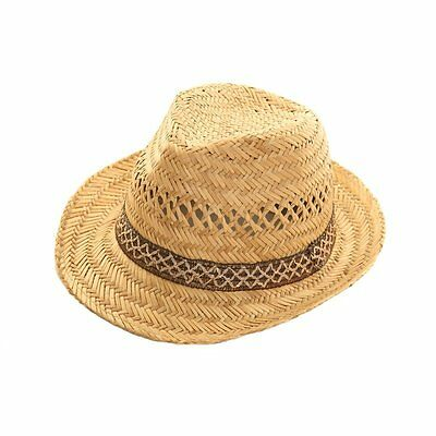 New Unisex Mens Ladies 100% Straw Summer Sun Beach Fashion Trilby Hat With Band
