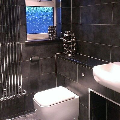 8 Dark Concrete Tile Effect Wall Panels Bathroom Kitchen Shower PVC Cladding