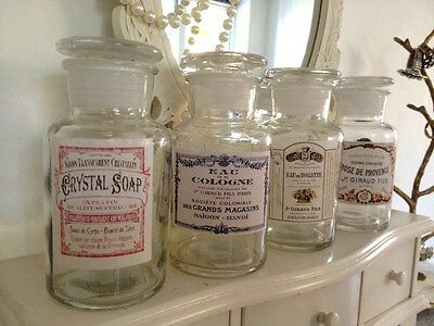 SECONDS Decorative Vintage Style Glass Bottle Perfume Pots Aged French Labels