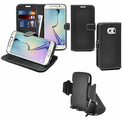Black Book Wallet Leather Case With In Car Holder For Samsung Galaxy S6 Edge