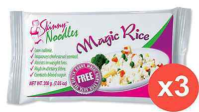 Case of 3 Skinny Noodles-Magic Rice 200g, Shirataki, Dukan, Atkins,Low Carb,Slim