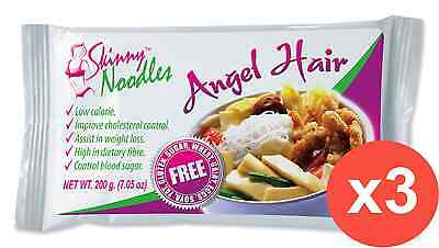 Case of 3 Skinny Noodles-Angel Hair 200g, Shirataki, Konjac,Slim, Dukan,Atkins