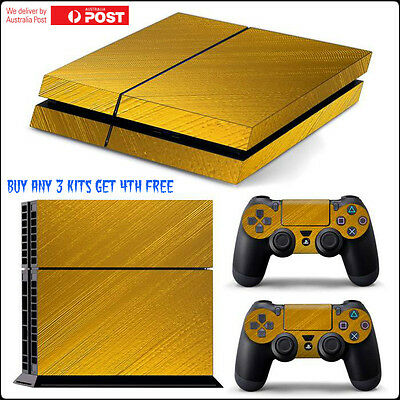 BRUSHED METAL GOLD | Full Sticker Skin Wrap Kit | For Sony Ps4 Console 2 remotes